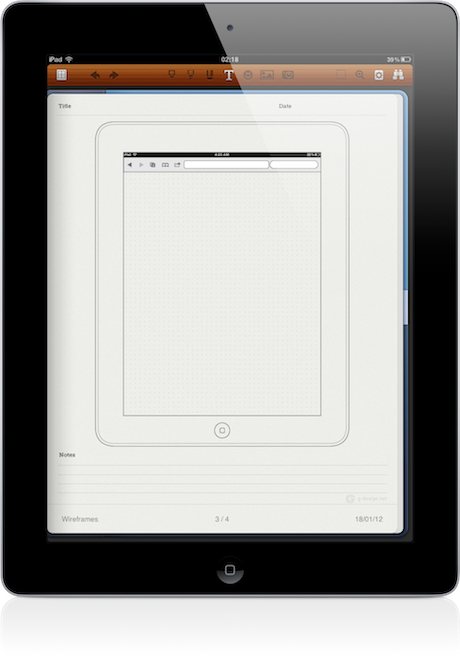 noteshelf wireframe templates - Wireframe Ipad